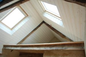L 39 ane brasseur suivez les travaux for Pose d un lambris bois au plafond